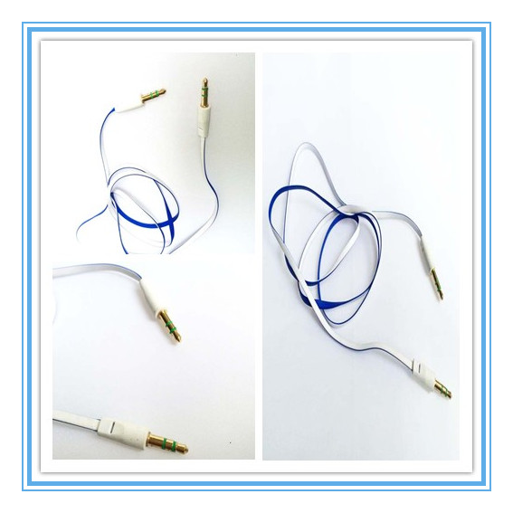 3.5mm gold-plating corlorful flat cord,aux automotive audio cable,mp3 connecting line.